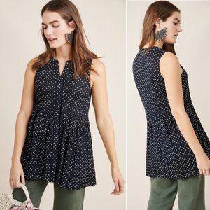 Anthropologie Nia Sleeveless Polka Dot Tunic Shirt